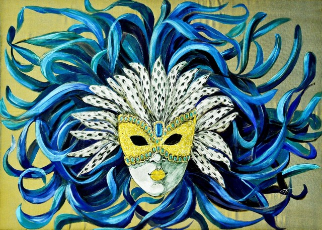 Mask - Blue Bird original painting by Irina Bespalova. Other technique