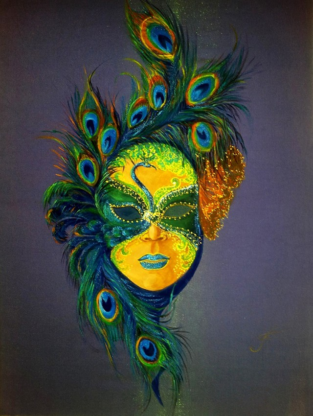 Mask - Peacock original painting by Irina Bespalova. Other technique