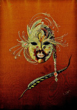 Mask - Gold and Ruby original painting by Irina Bespalova. Other technique