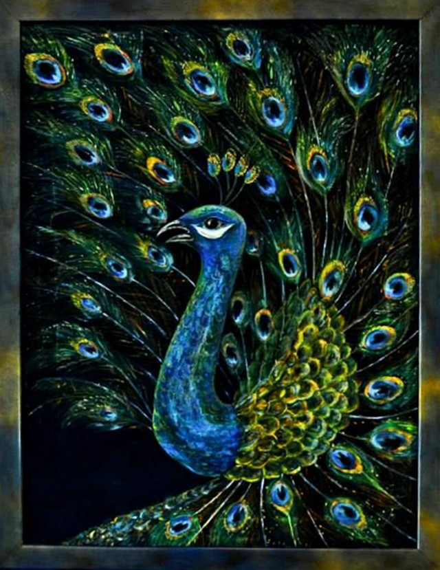 Peacock original painting by Irina Bespalova. Other technique