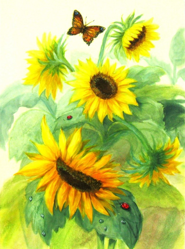 Sunflowers original painting by Irina Bespalova. Other technique