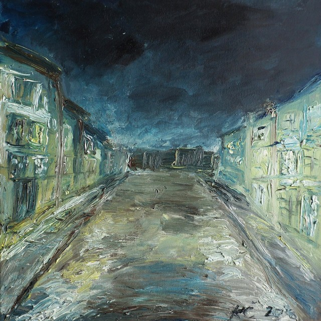 Old Town At Night original painting by Kristina Česonytė. Oil painting