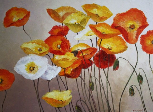 Poppy Seed Dance original painting by Danutė Virbickienė. Oil painting