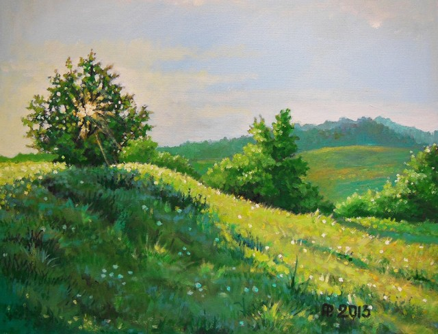 Green Meadows original painting by Aloyzas Pacevičius. Oil painting