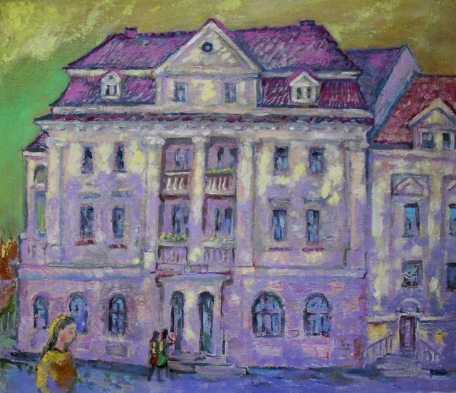 Bank In Germany original painting by Vidmantas Jažauskas. Oil painting