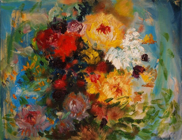 Bouquet original painting by Rasa Staskonytė. Oil painting