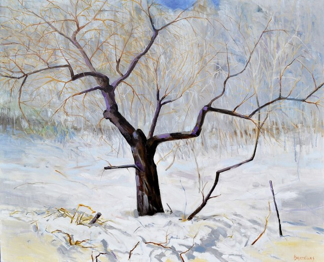 Apple Tree In Winter original painting by Artūras Braziūnas. Oil painting