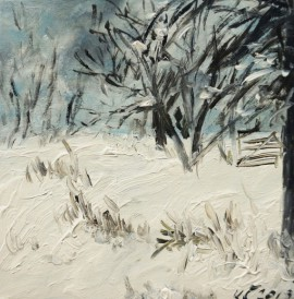 Winter In The Forest I original painting by Kristina Česonytė. Acrylic painting