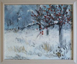 Winter In The Forest II original painting by Kristina Česonytė. Acrylic painting