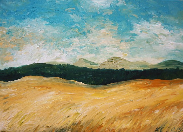 In The Fields of Italy original painting by Kristina Česonytė. Acrylic painting