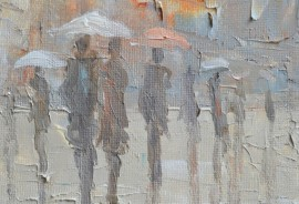 In The Rain original painting by Rimantas Virbickas. Oil painting