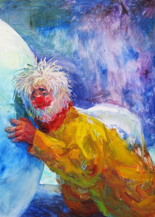 The Sad Clown original painting by Vilma Vasiliauskaitė. Oil painting