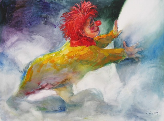 Clown In The Fog original painting by Vilma Vasiliauskaitė. Oil painting