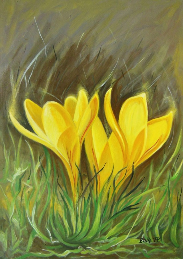 Crocus I original painting by Aloyzas Pacevičius. Oil painting