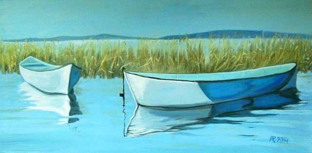 Boats II original painting by Aloyzas Pacevičius. Oil painting