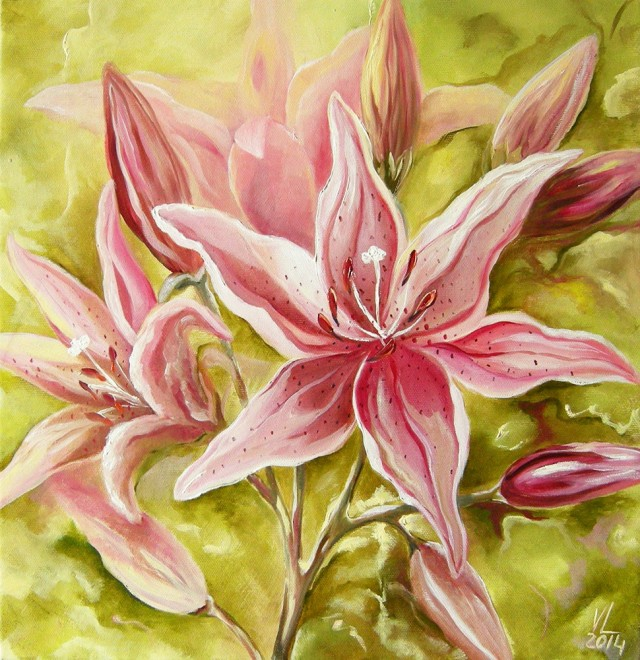 Lillies original painting by Viktorija Labinaitė. Oil painting