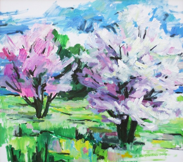 Flowering Trees original painting by Albinas Markevičius. Oil painting