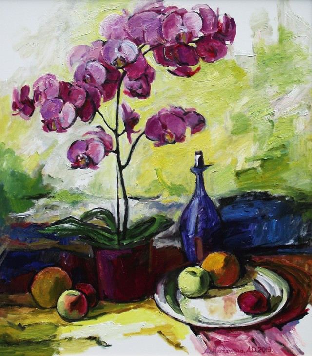 Still Life With A Flower original painting by Albinas Markevičius. Oil painting