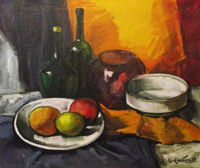 Still Life With A Glass Vase original painting by Albinas Markevičius. Oil painting