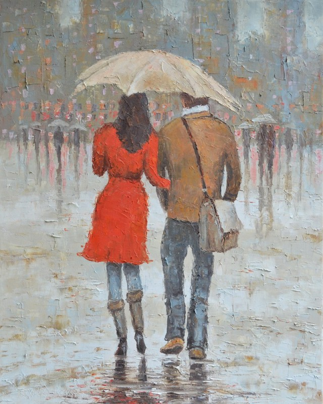 Together original painting by Rimantas Virbickas. Oil painting