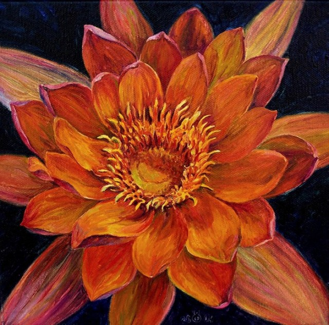 Orange Lotus original painting by Dalia Čistovaitė. Oil painting