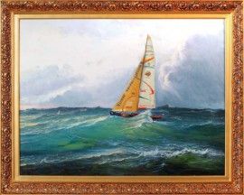 Ambersail Across The Atlantic original painting by Jonas Kozulas. Oil painting