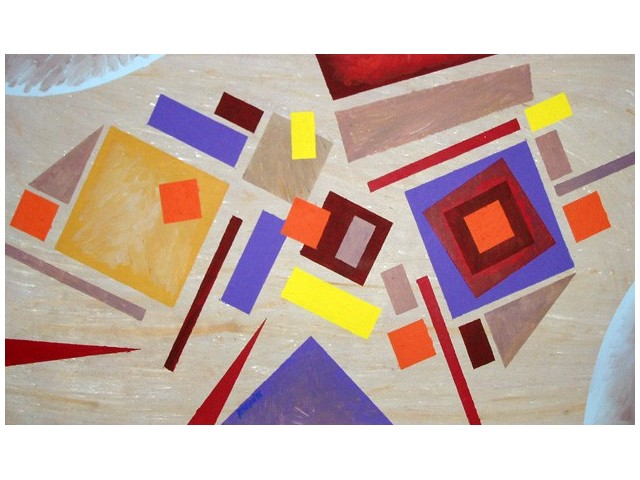 Lithuanian Suprematism B original painting by Rimantas Šlipavičius. Acrylic painting