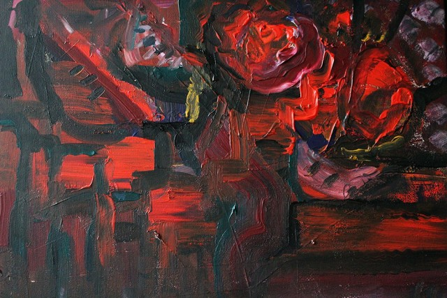 The Red Secret original painting by Kristina Čivilytė. Acrylic painting