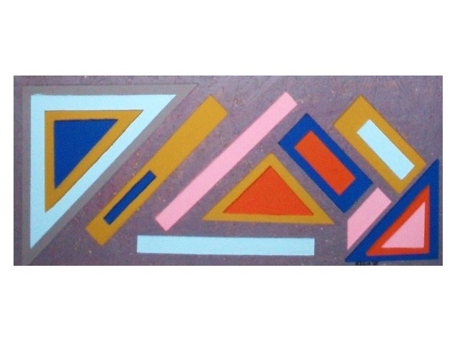 Lithuanian Suprematism E original painting by Rimantas Šlipavičius. Acrylic painting