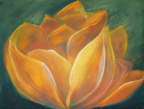 Improvisation Theme Of Flowers: Tulip original painting by Gražina Luckutė-Bukienė. Pastel