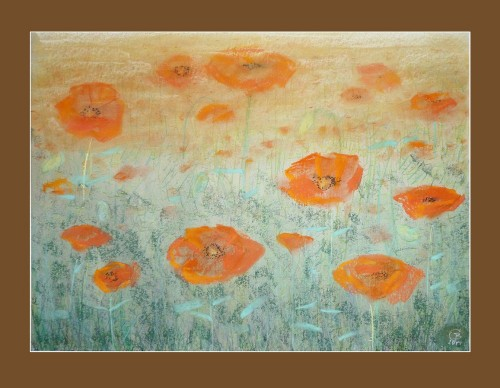 "Cycle \""Grass\\"" - Poppies original painting by Gražina Luckutė-Bukienė. Pastel"