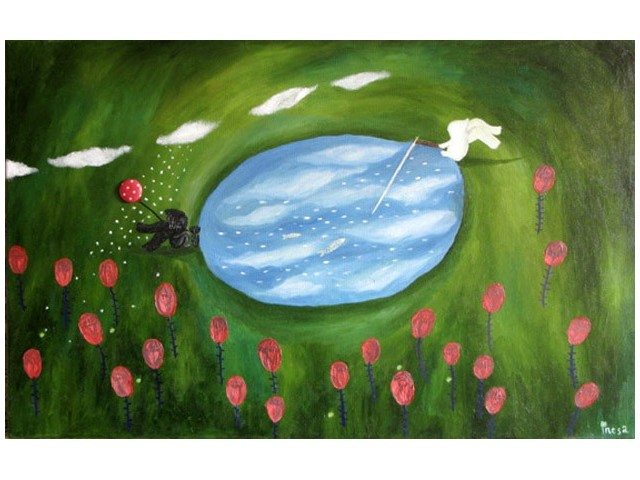 Yin And Yang original painting by Inesa Gervė. Oil painting