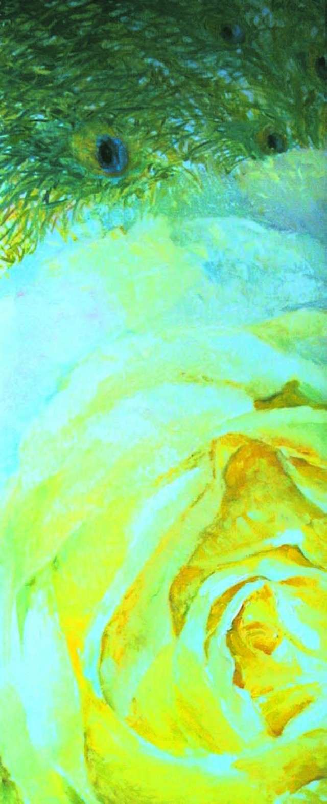 Yellow Rose And Peacock original painting by Vilma Vasiliauskaitė. Oil painting