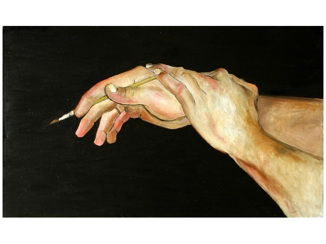 Hands Studio With Brush original painting by Agnė Mikalauskienė. Oil painting