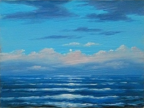 Sea. The Rise of The Moon original painting by Petras Kardokas. Oil painting