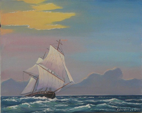 Ship original painting by Petras Kardokas. Oil painting
