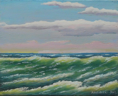 Sea original painting by Petras Kardokas. Oil painting