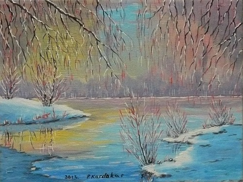 Winter starts original painting by Petras Kardokas. Oil painting