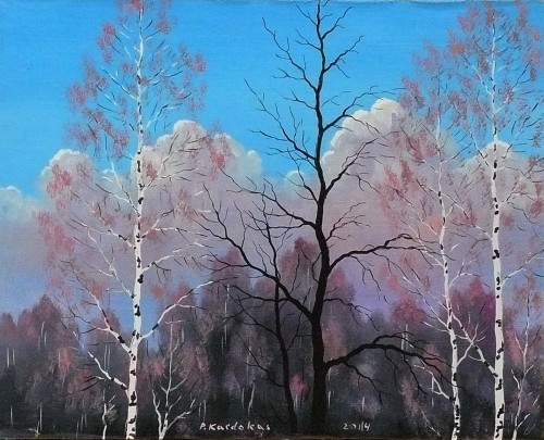 Spring original painting by Petras Kardokas. Oil painting