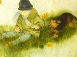 Noah With His Dog original painting by Onutė Juškienė. Oil painting