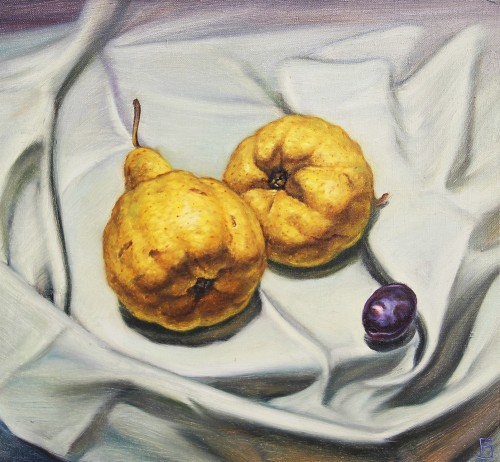 Pears original painting by Paulius Juška. Oil painting