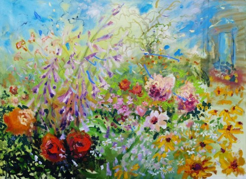 Flower Frenzy original painting by Rasa Staskonytė. Oil painting