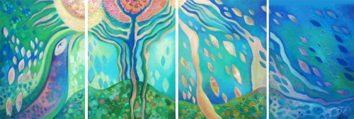 Seasons original painting by Natalija Kriščiūnienė. Acrylic painting