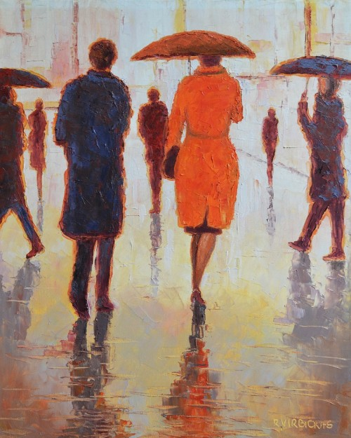 Raining In The City original painting by Rimantas Virbickas. Oil painting