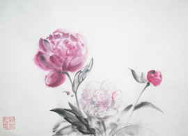 Blooming Peonies original painting by Jolanta Sereikaitė. Other technique