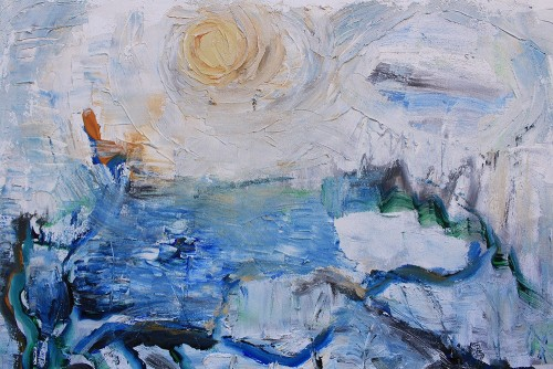 Lake In The Moonlight original painting by Kristina Čivilytė. Acrylic painting