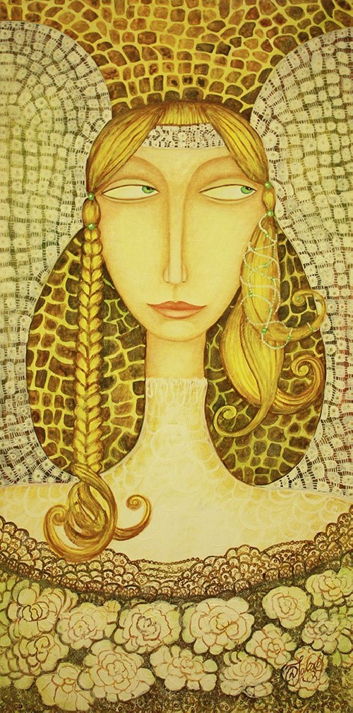 Golden Hair Guardian original painting by Danguolė Jokubaitienė. Oil painting