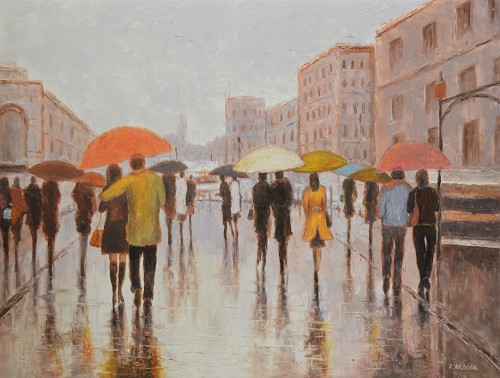 Rain In The City original painting by Rimantas Virbickas. Oil painting