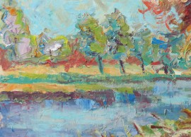 Near The Pond original painting by Liudvikas Daugirdas. Oil painting