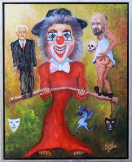 Clown Theatre original painting by Julius Urbanavičius. Oil painting